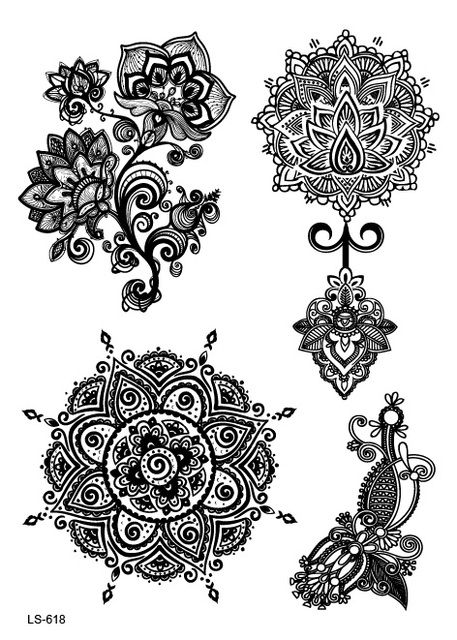 LS618 21x15cm Big Tattoo Sticker Sexy Hanna Female Black Lace Bride Temporary Flash Tattoo Stickers Body Art Flowers Tatoo