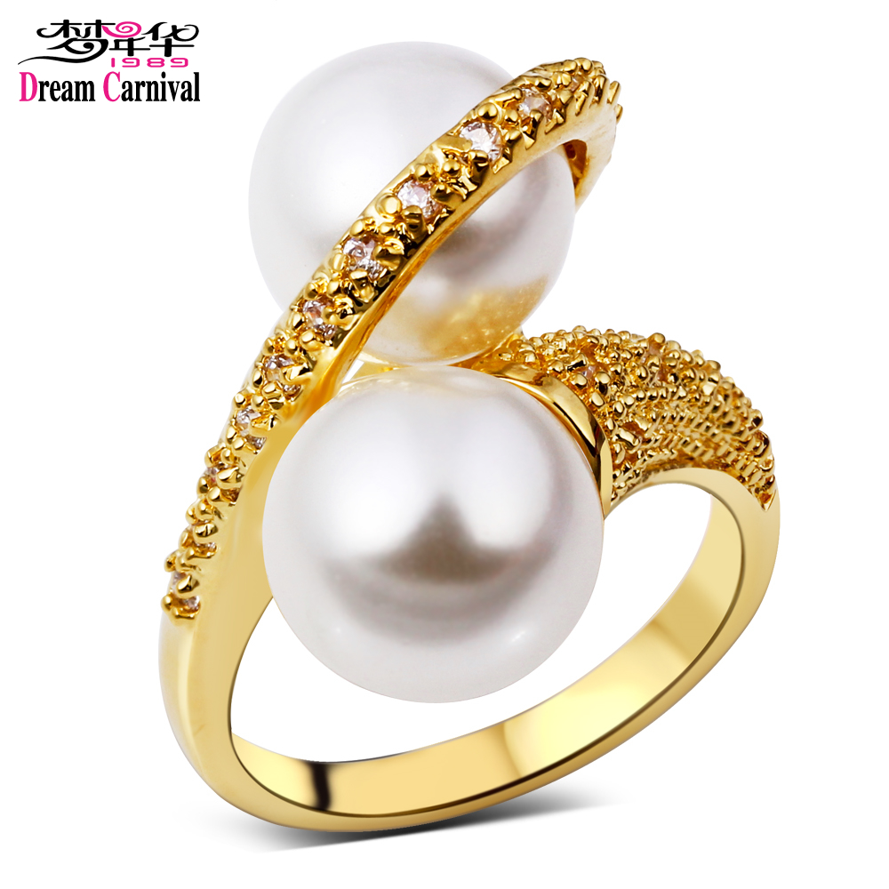 Latest Design Women Rings Deluxe Imitation Pearl Top Quality Cubic Zirconia Setting