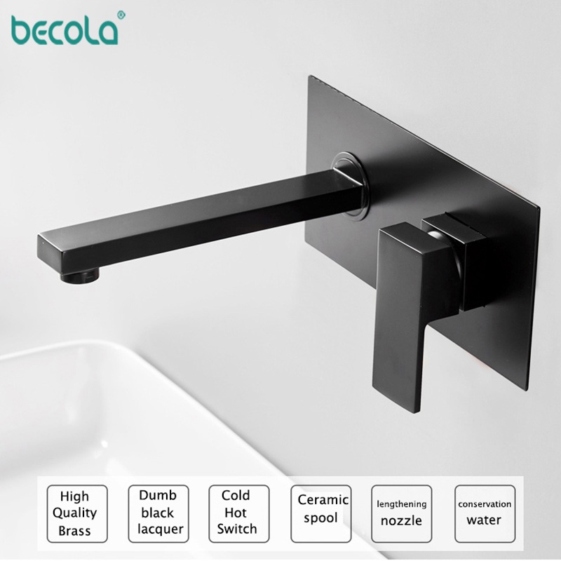 BECOLA Brass Wall Mounted Basin Faucet Single Handle Bathroom Mixer Tap Hot Cold Water Tap Matte