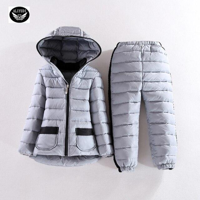 2016 новых осенью и зимой теплый с капюшоном костюм мальчиков одежда девушки теплое зимнее пальто Корейской моды Из Двух частей