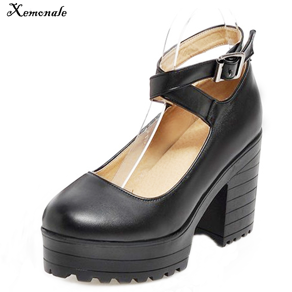 Xemonale Women Genuine leather shose Round Toe Buckle Strap Sandals Student leather shoes Ladies High Heels big size 34--43