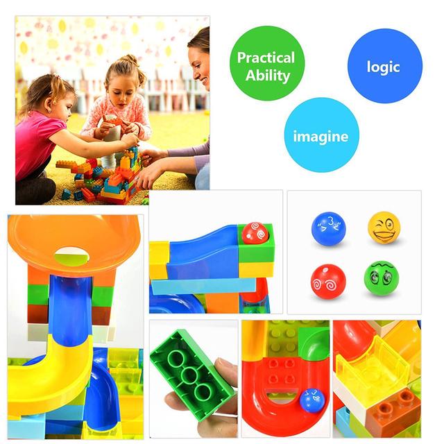 104-208PCS Big Size Marble Race Run Building Block Compatible DuploINGlys Track Blocks Funnel Slide Block Toys For Children