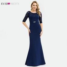 Elegant Navy Blue Lace Evening Dresses Long Ever Pretty EP00994NB Beaded O-Neck Half Sleeve Formal Vestido Comprido 2019