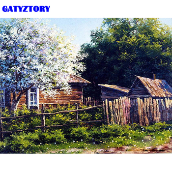 GATYZTORY إطار المنزل حديقة دهان داي بواسطة عدد الحديثة الرسم على لوحات القماش الجدارية الاكريليك الطلاء بواسطة أرقام للمنزل الديكورات الفنون