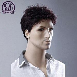 Image 2 - MSIWIGS 6 סנטימטרים קצר ישר פאות גברים יין אדום פאה טבעי גברים פאה שיער סינטטי סיבי חום עמיד