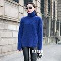 Nuevo genuine mink suéter de cachemira de las mujeres suéteres de cachemira pura chaqueta con cuello de visón envío libre S292