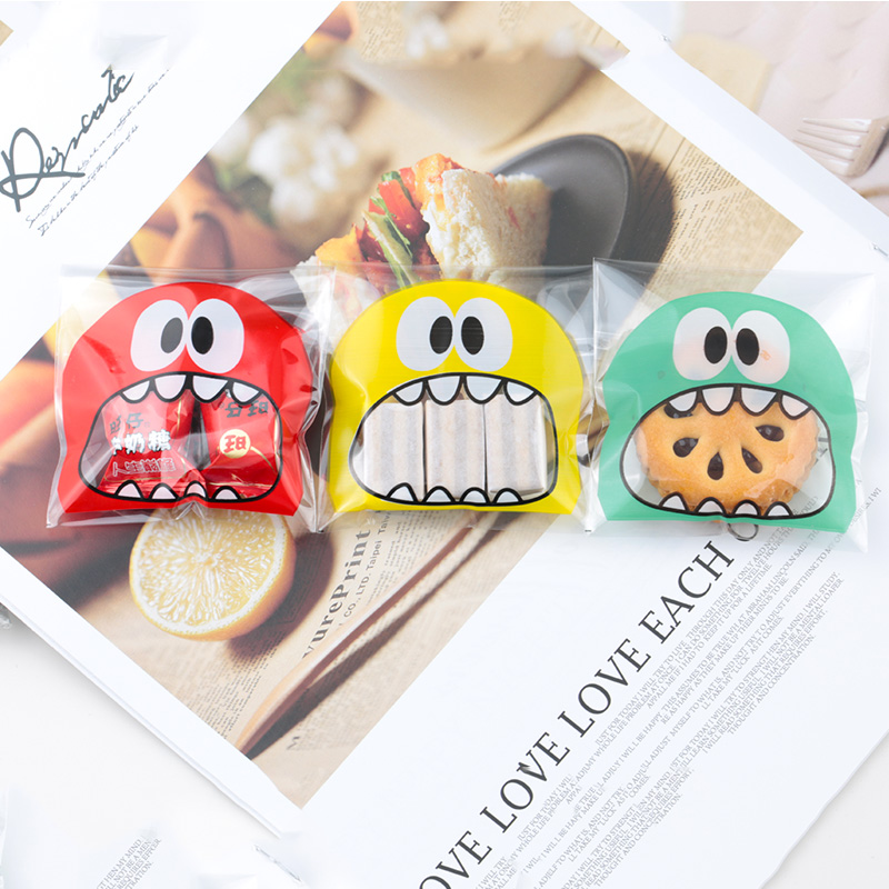 50/100 Pcs Cartoon Candy Cookie Sweets Plastic Bag Birthday Party Wedding Favors Gifts Packing Bags For Dessert Baking Package