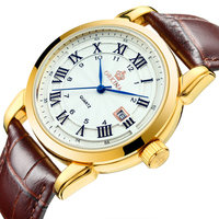 MG ORKINA Male Clock Colorful Glass Roman Numeral Auto Date Display Leather Strap Mens Watches Top