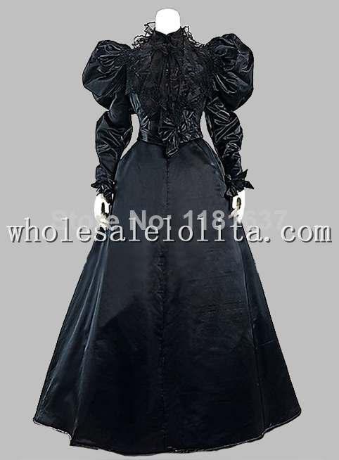 Gothic Black Silk-like Victorian 1870/90s Era Dress Party Dress Cosplay Dress