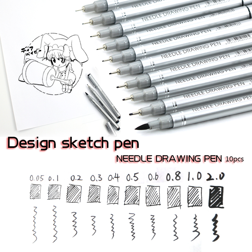 10 Tips Micron Needle Drawing Pen Waterproof Pigment Fine Line Sketch Markers Pen For Writing Drawing Anime Pens алмазный брусок extra fine 1200 mesh 9 micron 2