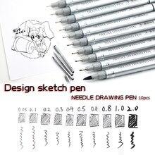 10 ipuçları mikron iğne cetvel kalemi su geçirmez pigmentler ince çizgi kroki İşaretleyiciler kalem yazma çizim Anime kalemler