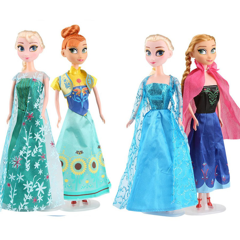 No Box High Quality 4PCS/Lot Boneca 30cm Elsa Doll Girls Toys Fever 2 Princess Anna And Elsa Dolls Clothes For Dolls Children