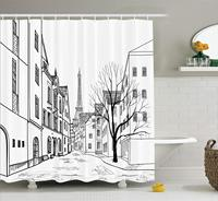 Wanderlust Decor Shower Curtain Paris Street with Houses Buildings and Tree on Alleyway Eiffels Tower on Background Bathroom