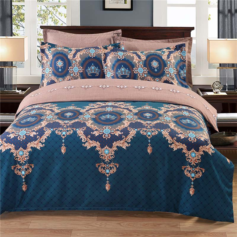 Blue European Floral Printing Bedding Set Pillowcase And Duvet Cover Sets Comfortable Both Sides Skin-friendly 6 Sizes ...