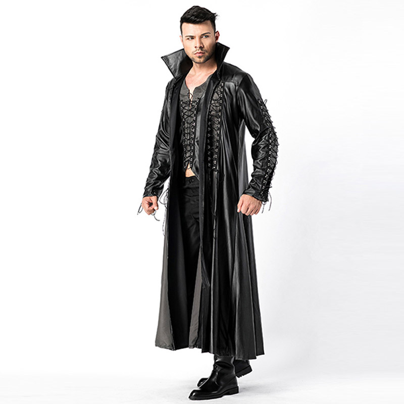 2018 New Adult Mens Halloween Vampire Costumes Faux Leather Outfits Fancy Party Devil Cosplay Dresses With Long Coat and Pants (2)