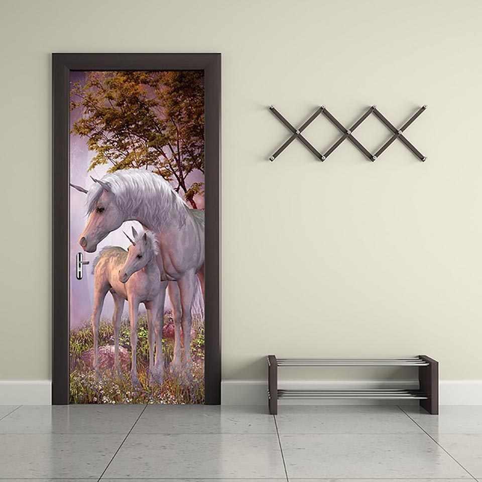ذاتية اللصق ثلاثية الأبعاد ملصق الباب الحيوان يونيكورن مشهد ديكور المنزل مقاوم للماء طباعة صور جدار الفنون تجديد لغرفة المعيشة