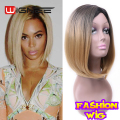 Ombre Blonde Synthetic Wig Medium Length Straight Hair Cut Bob Wigs Cheap OL Lady Wig Cheap African American Wig Perruque Peruk