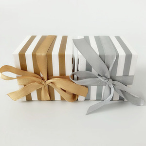 Image 5 - 50pcs/lot Gold Silver Striped Wedding Favors Box Candy Cookie Cake Boxes with Ribbon Craft Paper Gift Box bags promotion