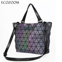 Matte Women BaoBao Bag Geometry Sequins Mirror Saser Plain Folding Shoulder Bags Luminous Handbag Casual Tote
