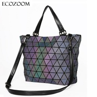Matte Women BaoBao Bag Geometry Sequins Mirror Saser Plain Folding Shoulder Bags Luminous Handbag Casual Tote