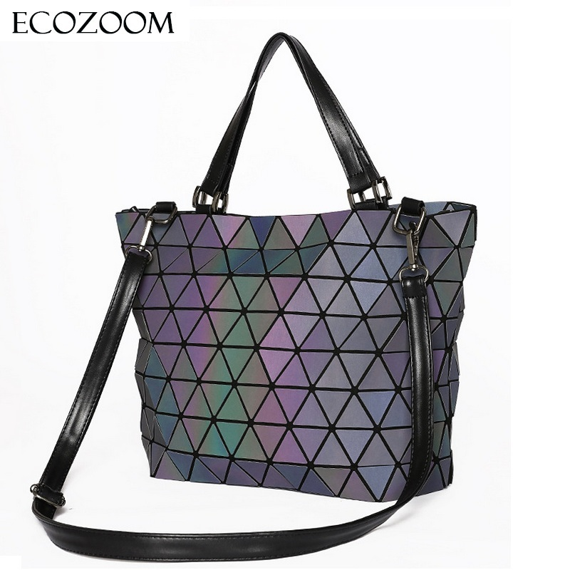 Matte Women Laser Geometry Bag Sequins Mirror Saser Plaid Folding Shoulder Bags Luminous Handbag Diamond Casual Tote Bucket Bag
