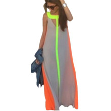 New 2017 Boho Women Summer Maxi Dress Fashion Sleeveless Contrast Color Beach Party Long Dresses Casual Loose Sundress Vestidos