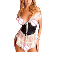 Sexy Maid Uniform Lingerie Plus Size XXXL Hot Lace Embroidery Sheer Perspective Cosplay Lenceria Open Crotch