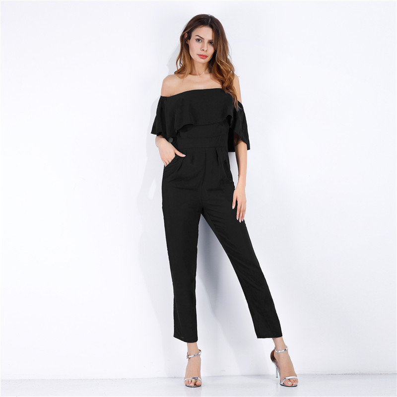 Chiffon Ruffled Jumpsuit 2018 Women Red Black Floral Flower Sexy Off-shoulder Jumpsuit Slash-neck Romper Fashion Bodycon Romper