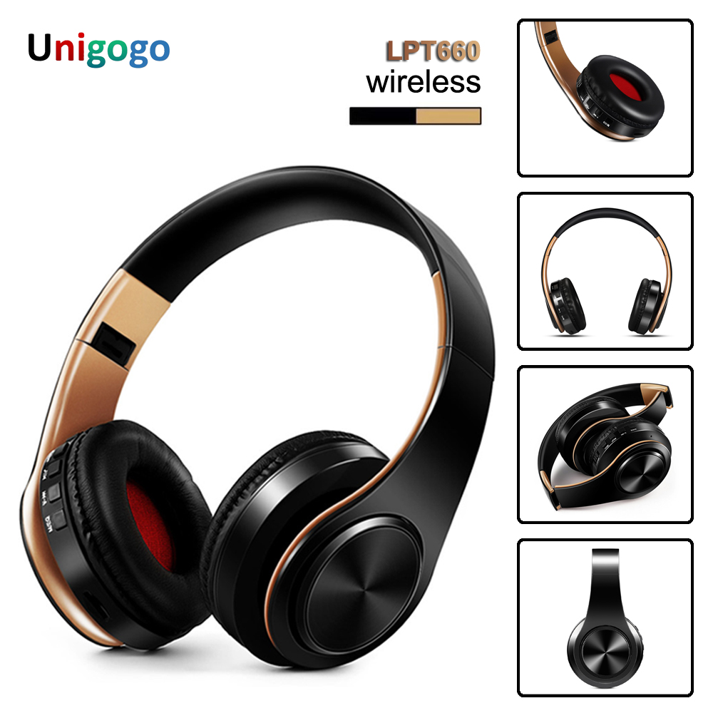Bluetooth Headphone Over-Ear Wireless Headphones Foldable stereo Earphone Headset with Mic support TF card FM  for PC Music MP3
