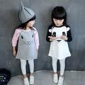 2016 Autumn baby Girls clothes dress for little girls panda moose long sleeve casual dress kids dress vestido infantil chica