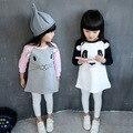 2016 Otoño de los bebés ropa de vestir para niñas panda alces de manga larga ocasionales cabritos del vestido vestido infantil chica