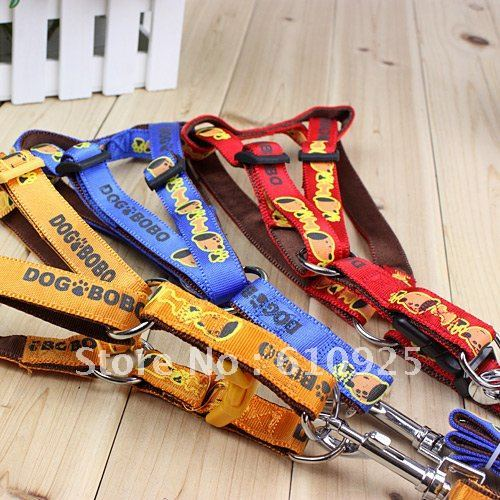 Hot selling New soft printing harness, pet collart, traction rope,  dog leashes,many colors send randomly