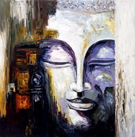 Buddha Face Hand Painted Oil Painting on Canvas