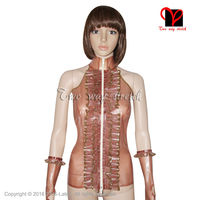 Sexy Transparante Bruin Latex Blouse Met ruches Rits Front Rubber shirt Gummi jacket Crop Top tank jas SY-044