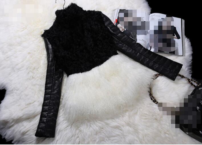 Autumn And Winter New Korean Version Of Imitation Wool Fur Plus Cotton Women Fashion Fur Coat PU Sleeves