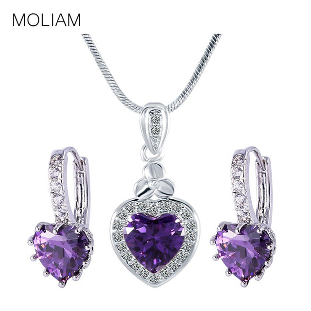 MOLIAM 2017 LOVE Heart Pendant Necklaces Earring Set Silver Color