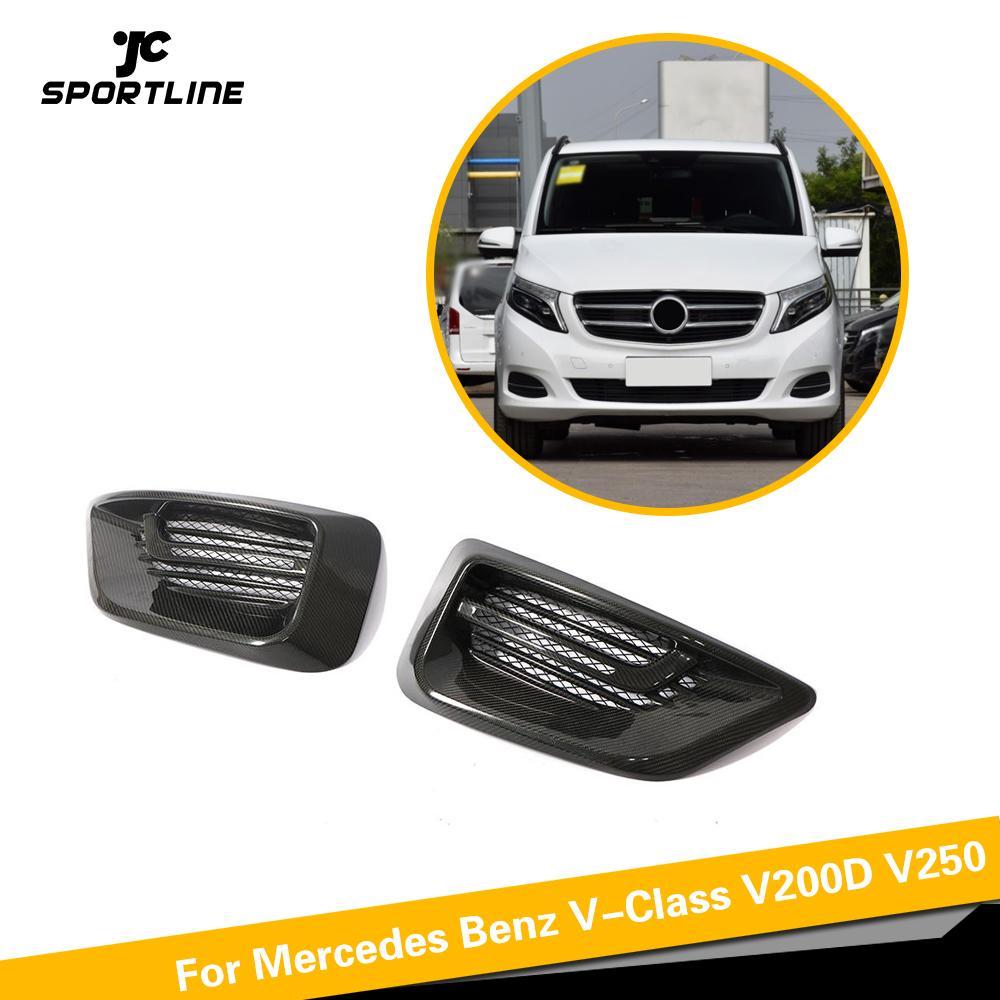 Accessoires de voiture sec carbone brouillard lumière maille couverture lampe Grill pour mercedes-benz W447 v-class V220D V250 2016 2017 2018 pare-chocs avant