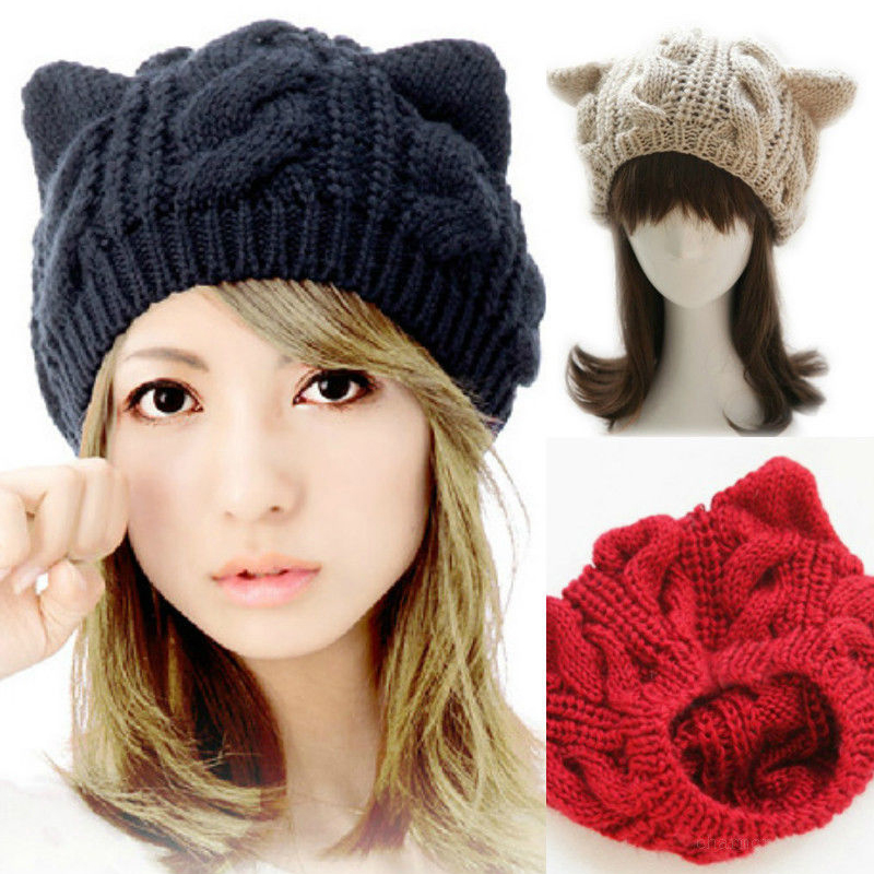 Fashion Women Hat Cute Cat Ear Knitting Wool Beanies Autumn Winter ...