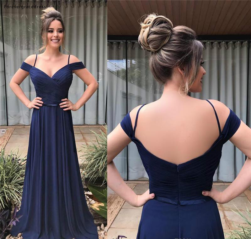 Dark Navy Blue   Bridesmaid     Dresses   2019 New A Line Chiffon Summer Country Garden Formal Wedding Party Guest Maid of Honor Gowns