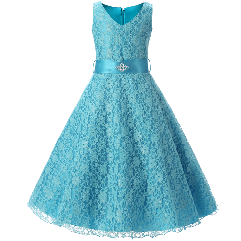 solid ribbon teenagers kids dress party wear gowns ceremony flower ...