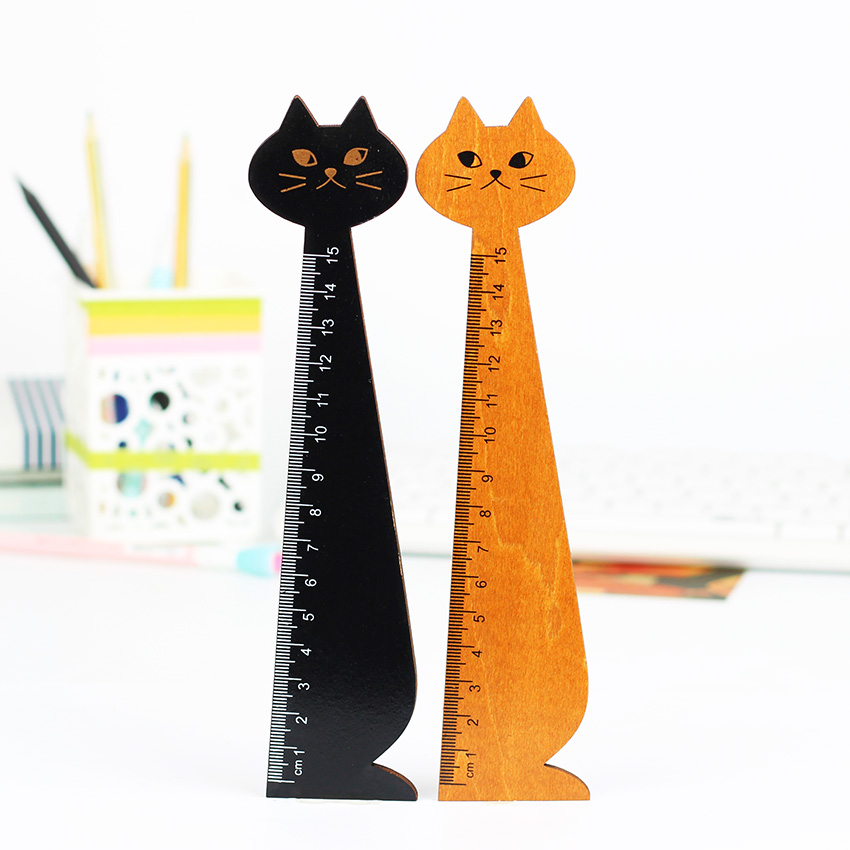 3PCS Creative Cute Wood Animal Straight Ruler Lovely Cat Shape Ruler Gift for Kids School Supplies Stationery Black Yellow