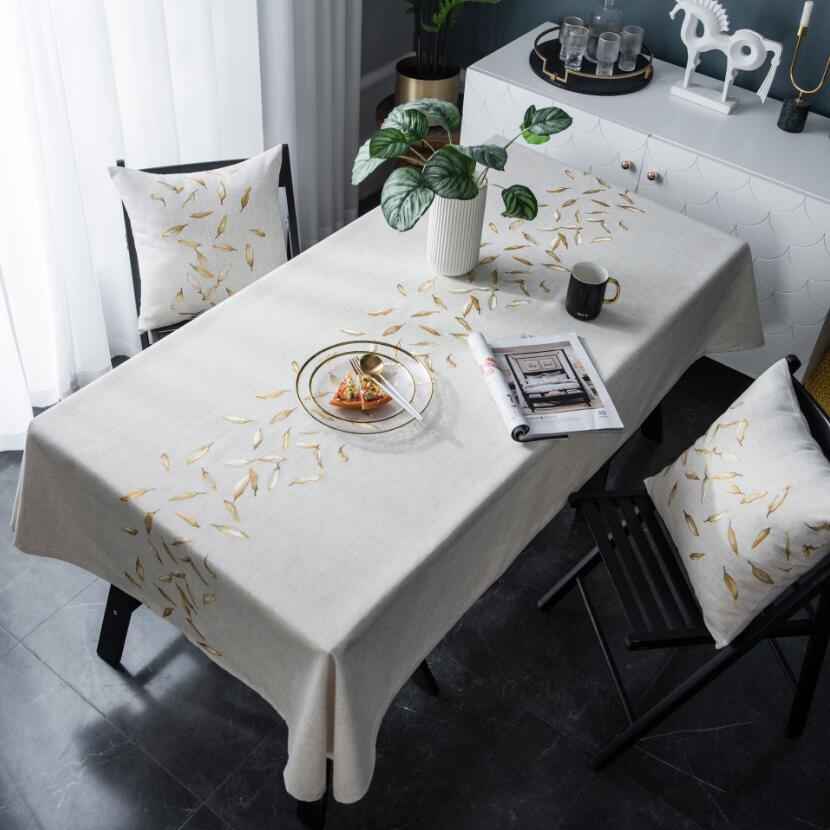 Luxury Gold Leaf Tablecloth American Country Embroidery Waterproof Kitchen Dining Table Cover Dust Proof Retro Mantel Mesa ZC072
