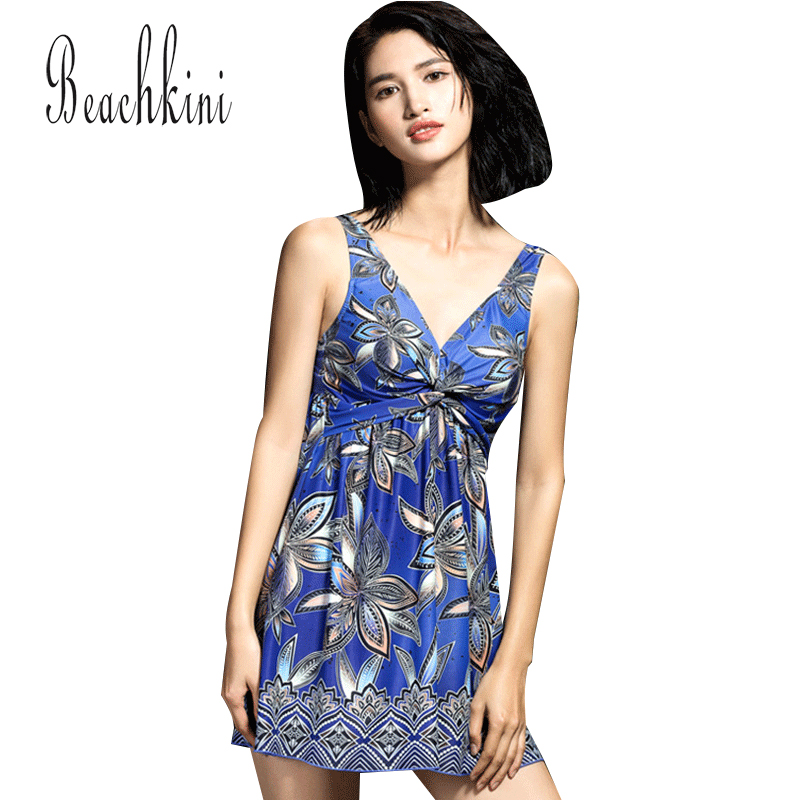 Fold One Piece Swimsuits New Women Swimwear Floral Bathing Suits V Collar Swim Dress Lady Summer Swimming Suit summer style swimwear sexy one piece women swimsuits monokini swim suit high waist bathing suits