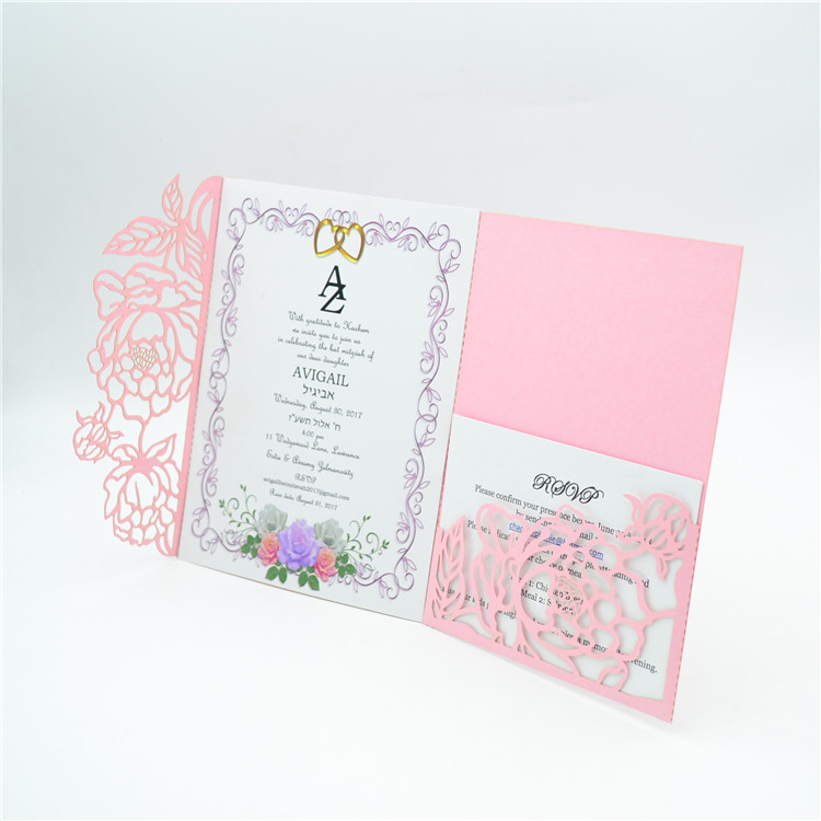 6x9 Wedding Invitation Envelopes: Elegant Blush Pink Tri Fold Laser Cut Pocket Wedding