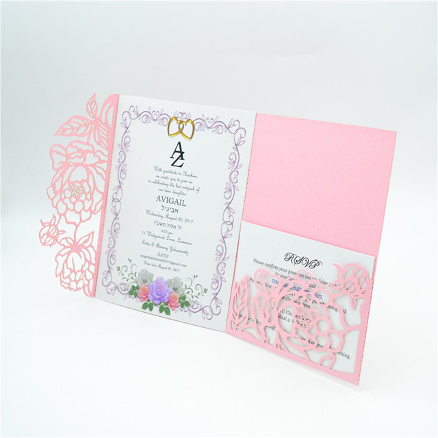 elegant blush pink tri fold laser cut pocket wedding invitation