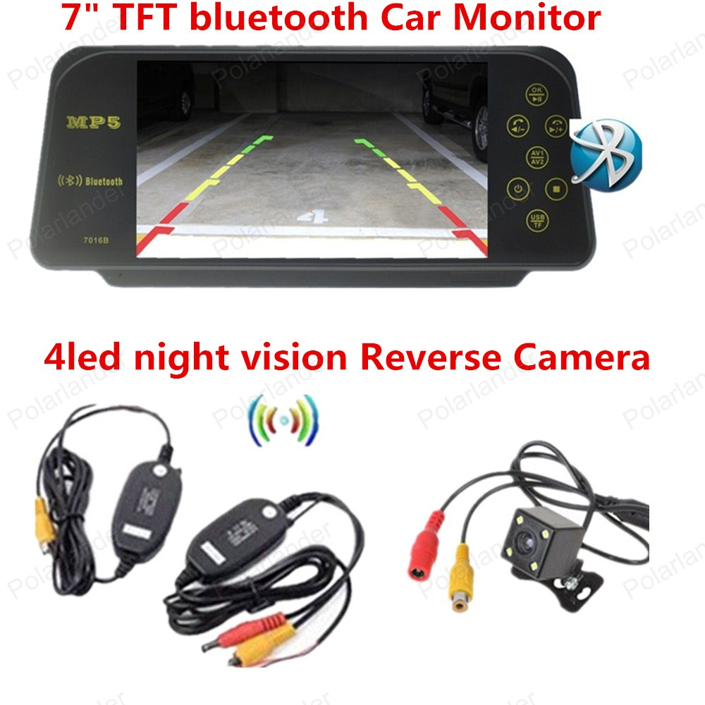 ФОТО Hot sale bluetooth Car Rear View 7 Inch TFT LCD Monitor  4led rearviwe camera wireless receiver transmitter kit