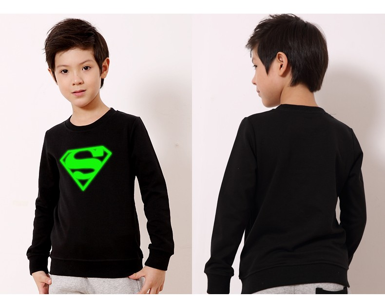 Kids Pullover Noctilucent luminous light 3d print hoodie sweatshirt hip hop spiderman bat man super basketball spring black tops (2)