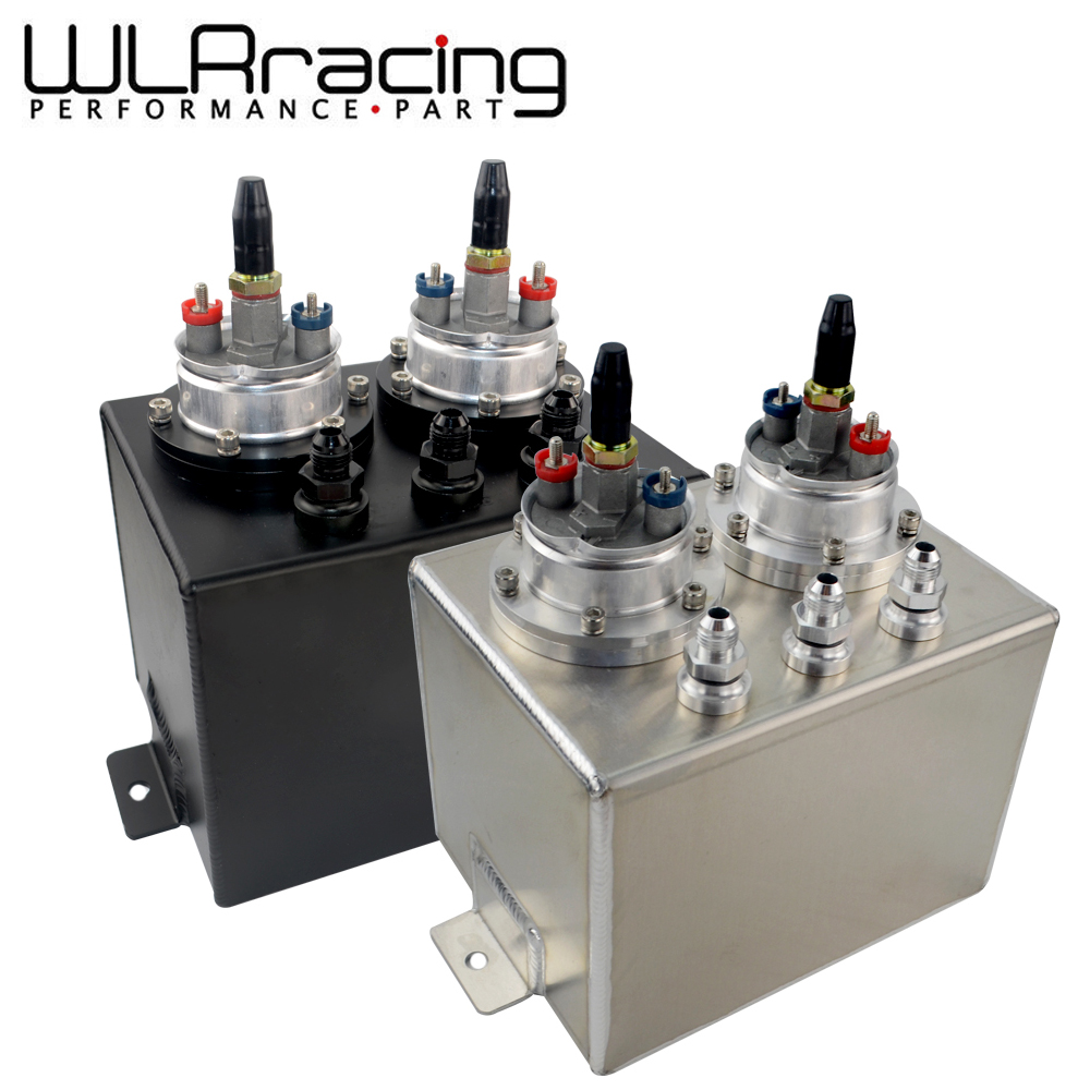 WLR RACING - 3L Dual BILLET ALUMINUM FUEL SURGE TANK / SURGE TANK With 2pc 044 FUEL PUMP SILVER OR BLACK WLR-TK84044