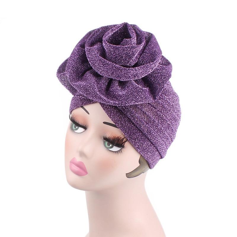 Women Bright Muslim Turban Hijabs India Cap red purple Big Flower Headband Wedding Party Hair Loss Head Wraps Hair Accessories headpiece