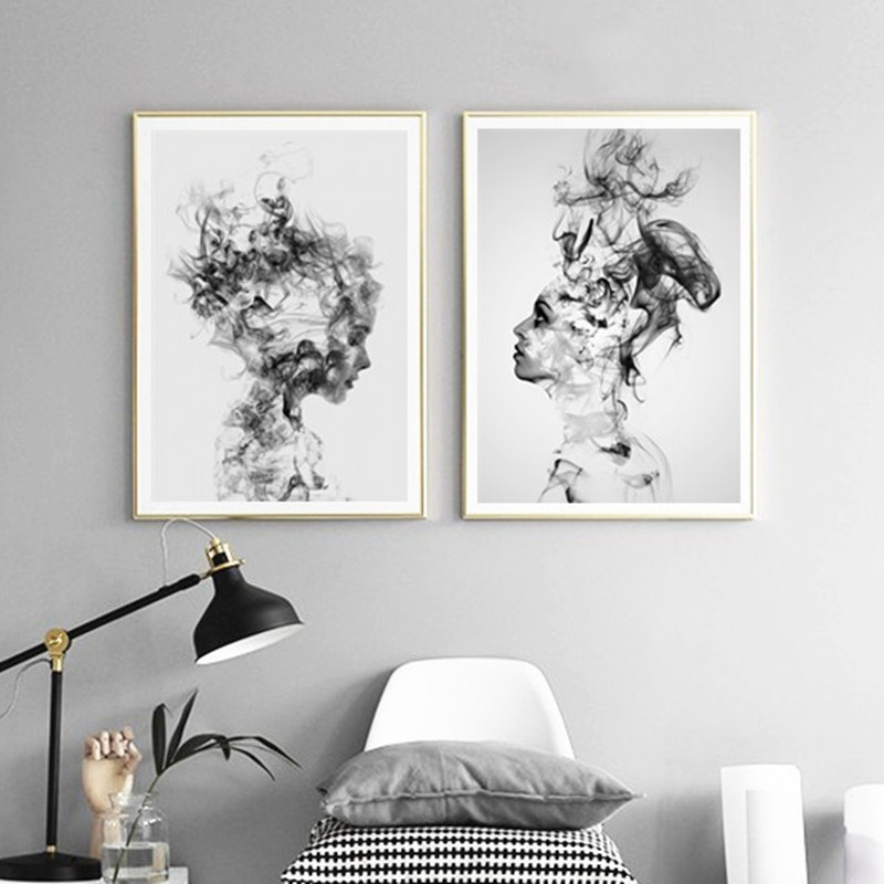Modern Nordic Black And White Canvas Painting Art Print Wall Poster Abstract Girl Wall Pictures Wall Art For Bedroom Living Room
